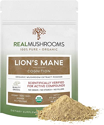 Lions Mane Mushroom Extract Powder, Vegan Certified Organic Mushroom Supplement, Non-GMO 60g Bulk Lion s Mane Mushroom Powder No Fillers, Perfect for Shakes Coffee Tea