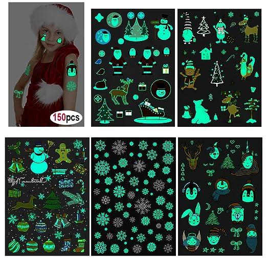Howaf 150Pcs Luminoso Navidad Tatuajes Temporales para Niños Niñas, Impermeables Tatuaje Falso Pegatinas para piñata Niños Infantiles Fiesta cumpleaños ...