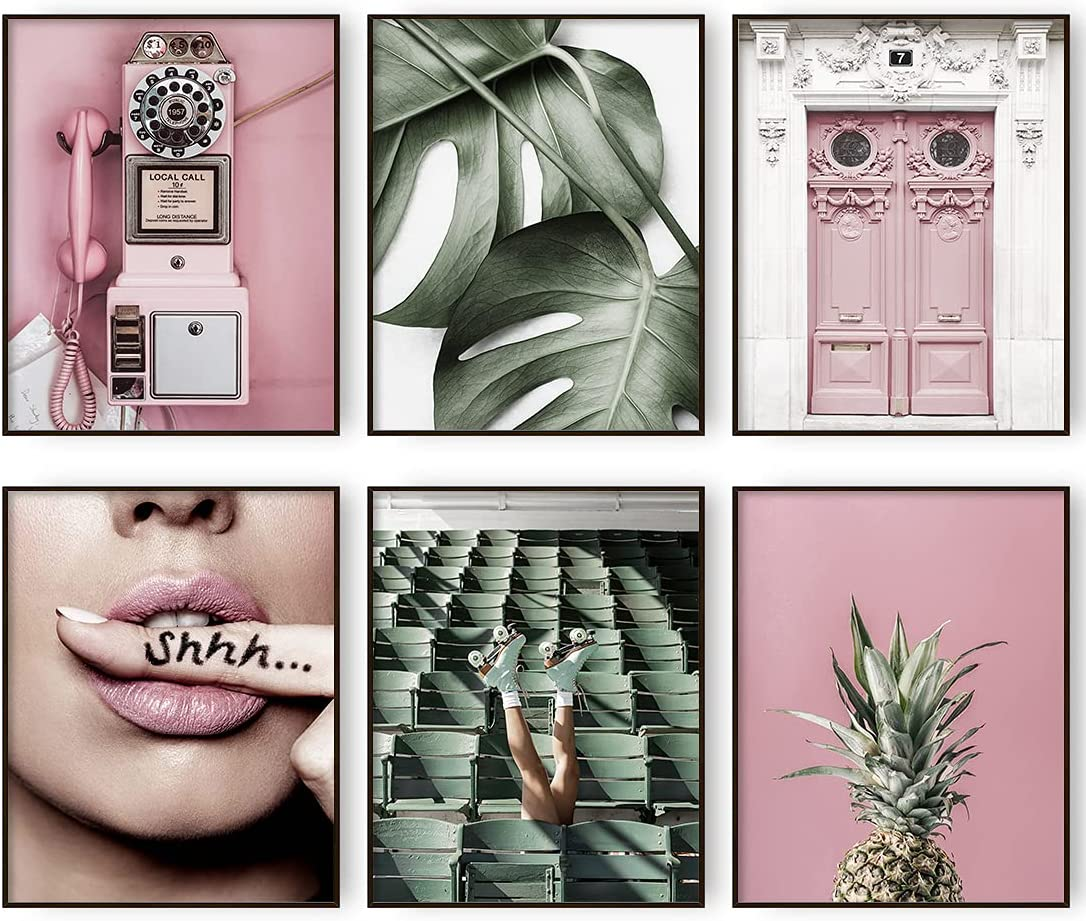 Modern Minimalist Pink Women Lips Pineapple Wall Art Prints Set of 6 Plant Green leaf Fashion Canvas Poster Wall Decor for Bedroom Teen Girl Room Decor (8x10in Unframed)
