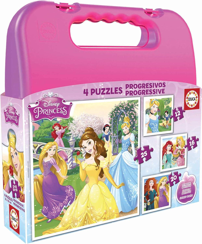 Educa-Maleta Progresivos de 12, 16, 20 y 25 piezas, Princesas Disney, a partir de 36 meses, multicolor, única (16508)