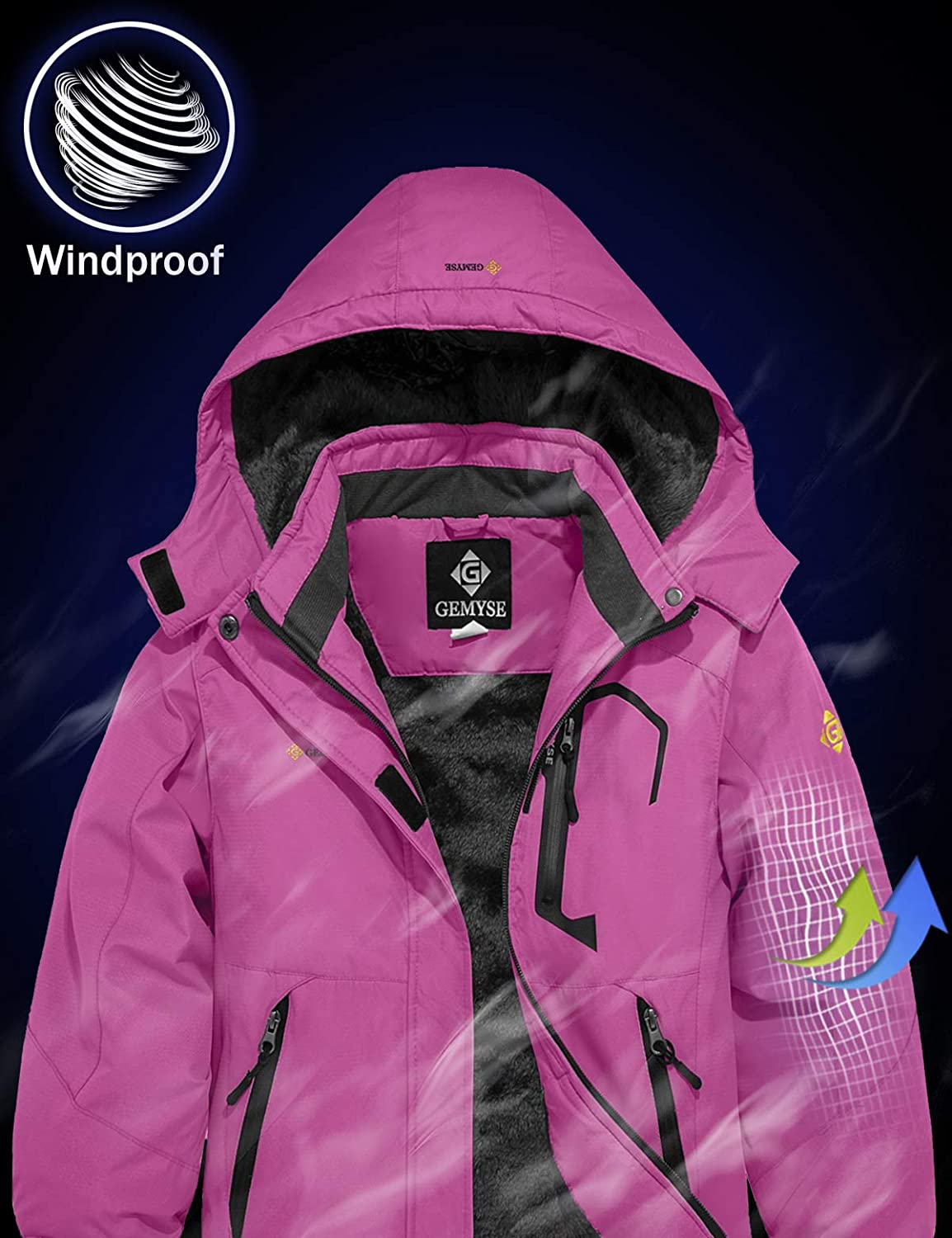 GEMYSE Girls Waterproof Ski Snow Jacket Fleece Windproof Winter Jacket with Hood
