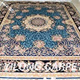 Yilong 8'x10' Handmade Rugs Silk Traditional Oriental Persian Medallion with Strewed Flowers Rugs Beige and Blue Large Living Room Carpet YN058