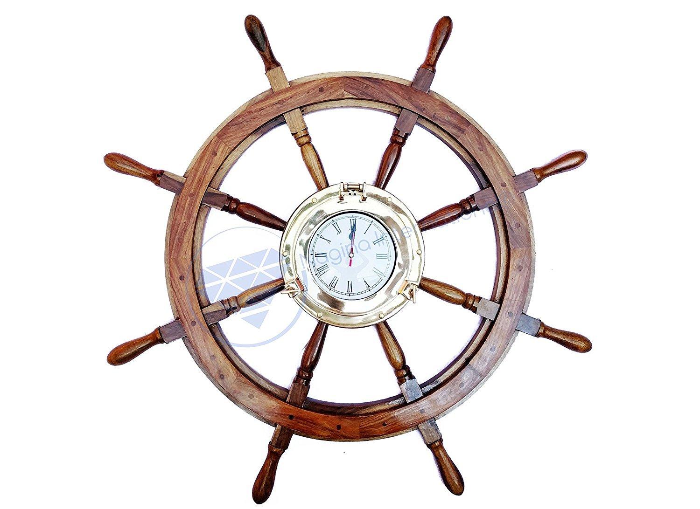 Deluxe Nautical Porthole Clock MDF Hub Ship Wheel | Roman Numeral Dial | Handcrafted Decor | Pirates Wall Decor Gift | Nagina International (24 Inches)