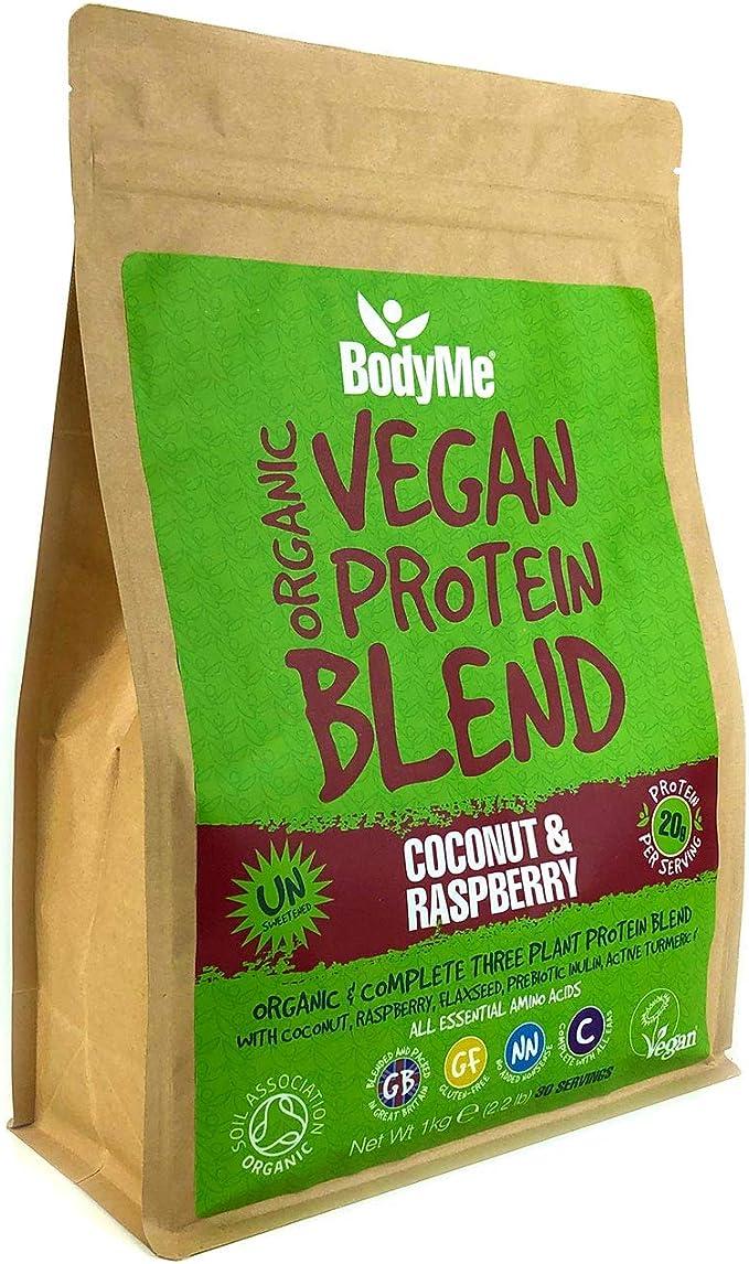 BodyMe Mezcla de Proteina Vegana Organica en Polvo | Crudo Coco Frambuesa | 1kg | Sin Edulcorante | Baja Carb | Sin Gluten | 3 Proteinas Veganas | 20g ...