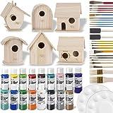 Birdhouse Craft Bundle - 6 Unfinished Wood Birdhouses (5-7 Inches), 16x 2-Ounce Acrylic Paints, Pixiss Nylon 10 Round…