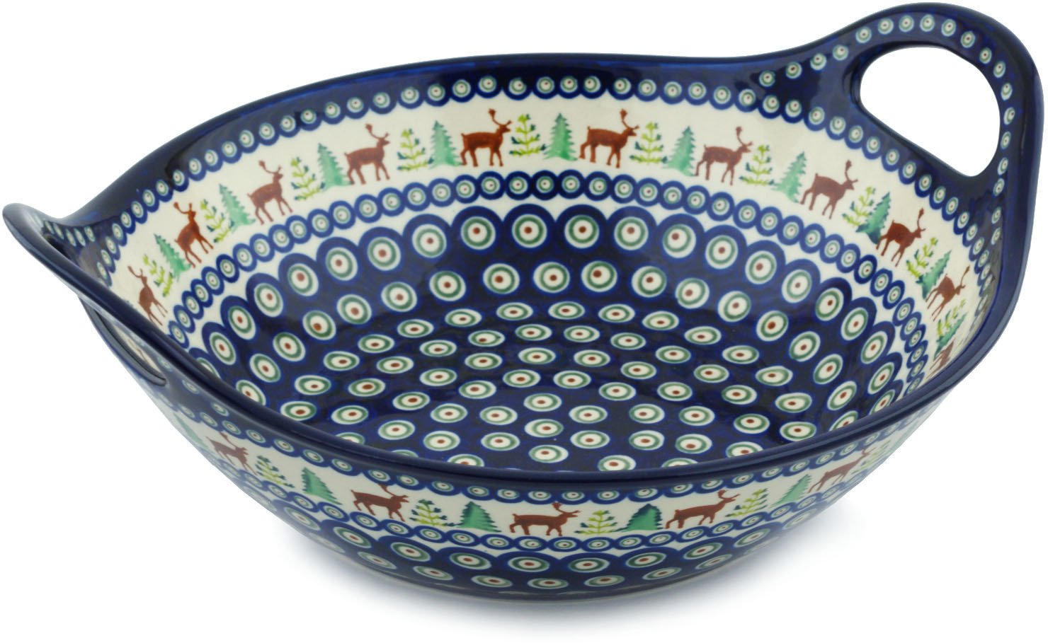 Polish Pottery 12-inch Bowl with Handles (Reindeer In The Pines Theme) + Certificate of Authenticity