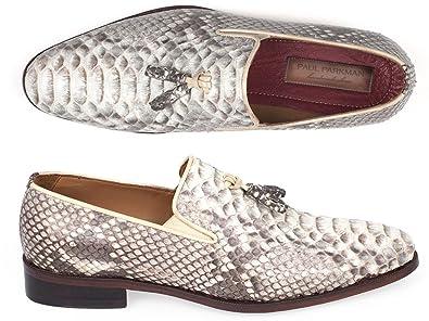 746b4c68ee45c Paul Parkman Men's Natural Genuine Python Tassel Loafers Shoes (ID#26NAT82)  Size 6