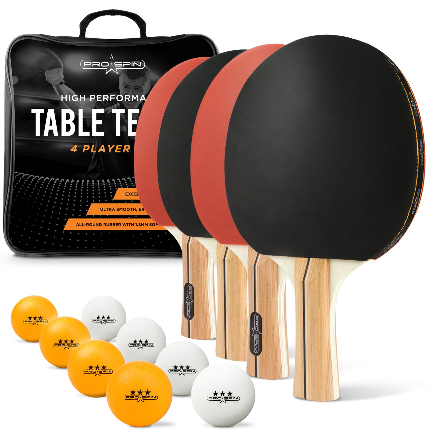 PRO SPIN Ping Pong Paddle Set - Includes 4 Paddles/Rackets, 8 Balls, Premium Storage Case - Professional Table Tennis Set of 4