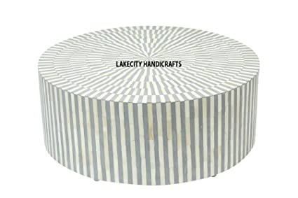 Bone Inlay Honeycomb Round Coffee Table In Grey Color