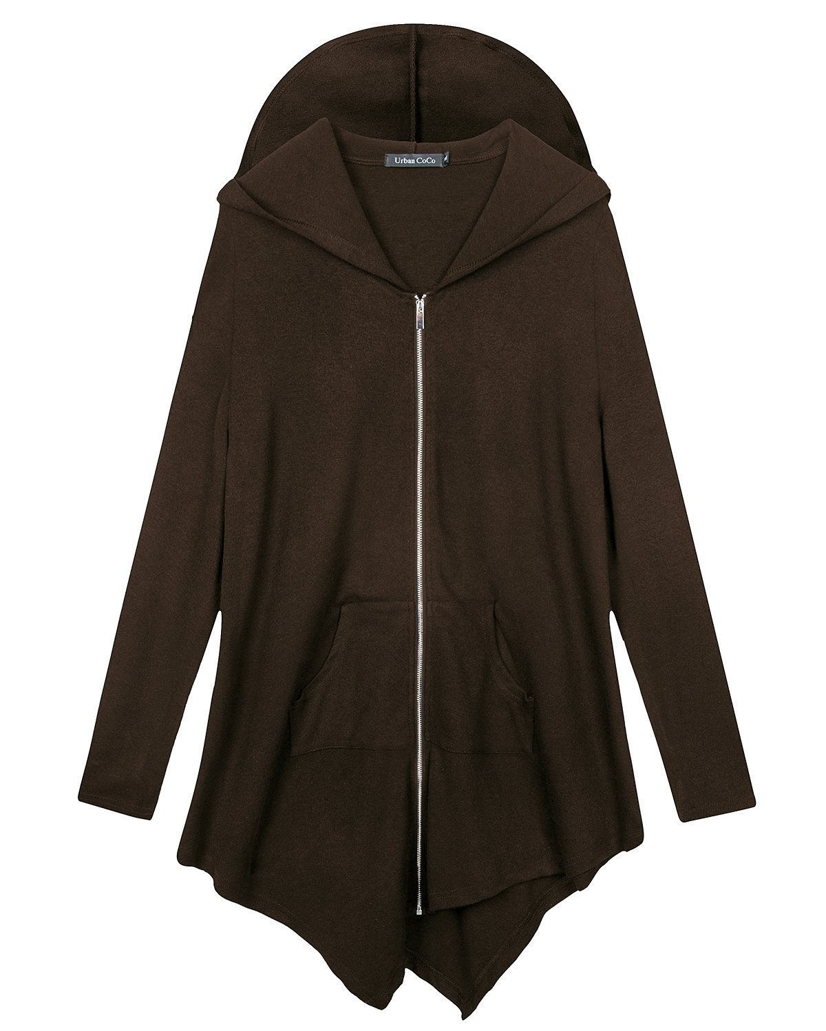 Urban CoCo Women's Pluse Size Hooded Sweatshirt Jacket Cape Style (XL, Brown) by Urban CoCo