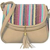 KLEIO Stylish Jacquard PU Leather Side Cross Body Sling Handbag Purse For Women Girls Ladies