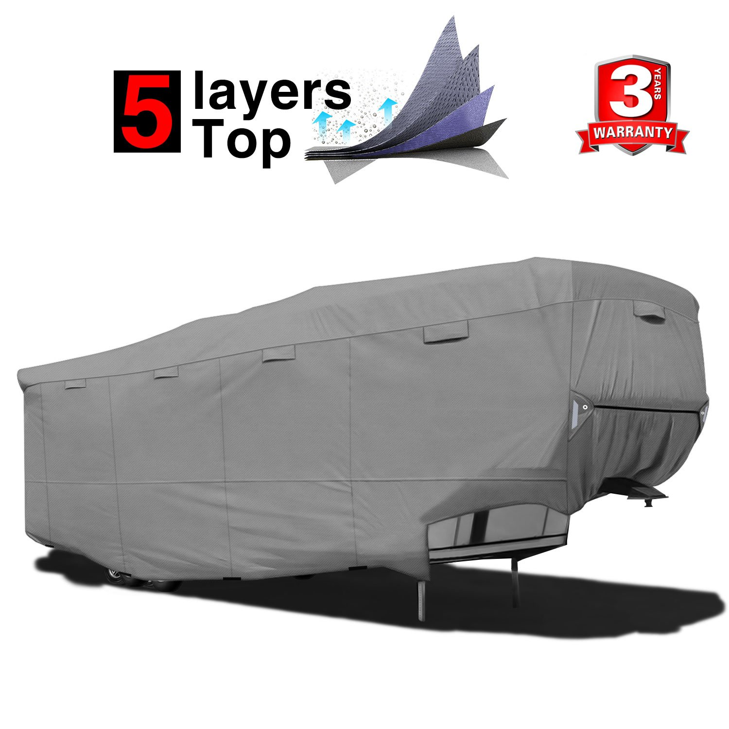 RVMasking Heavy Duty 5 Layers Top 5th Wheel Cover, Fits 31'1''-34'' RVs - Breathable Waterproof Ripstop Anti-UV RV Covers With 15 PCS Windproof Buckles & Adhesive Repair Patch(25.4''& 59'') by RVMasking
