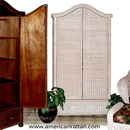 White Wicker Pagoda Armoire Clothes Storage Cabinet For The Bedroom