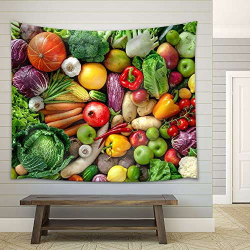 wall26 – Assortment of Fresh Fruits and Vegetables – Fabric Wall Tapestry Home Decor – 68×80 inches