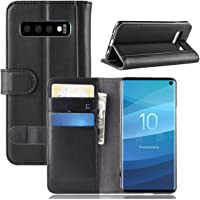 Galaxy S10 Case, Gift_Source [Card Slots] Genuine Leather Wallet Holster Folio Flip Case Stand Function Cover and Magnetic Closure for Samsung Galaxy S10 [Black]