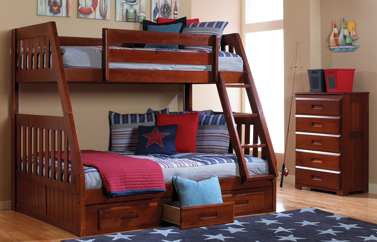 Mission Twin Over Full Bunk Bed with Trundle, Desk, Hutch, Chair and Entertainment Dresser in Merlot Finish