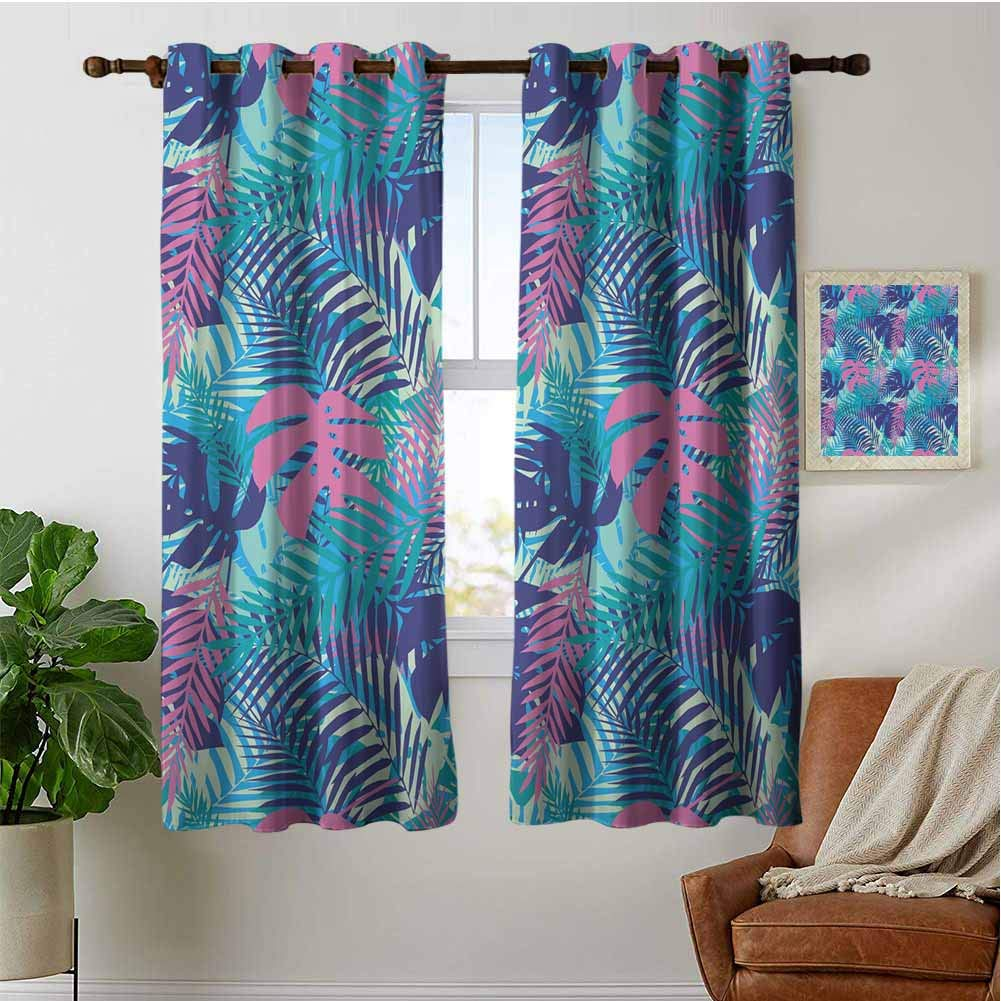 PRUNUSHOME Vivid Colored Island Flora Curtains for Kitchen Window, Thermal Insulated Window Treatments Blackout Curtain Panels (Set of 2 Panels,42 by 45 Inch) by PRUNUSHOME