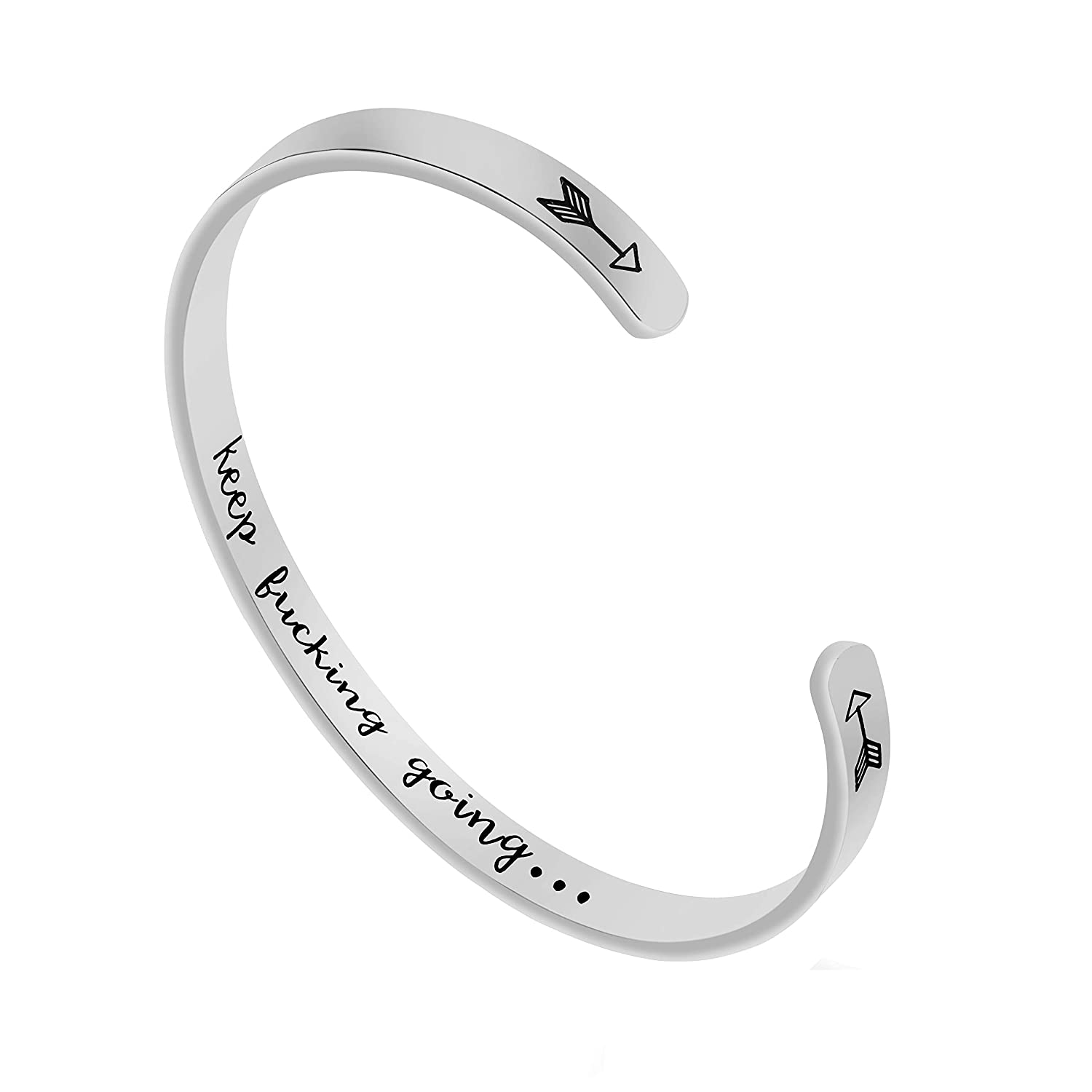 Fashionalife Inspirational Jewelry for Women Cuff Bangle Bracelets Stainless Steel Gifts Engraved Message