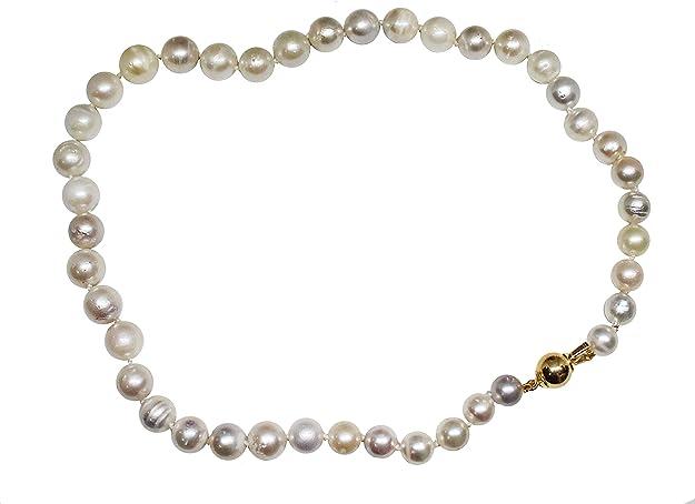 Collar de plata de ley con 41 perlas naturales australianas de 8 x 12 mm de diámetro, con cierre de plata AG925