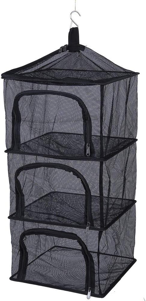 Drying Net Rack, Outdoor Foldable 4 Layers Hanging Shelves Dry Rack Net Zipper Opening Mesh Netting Food Dehydrator