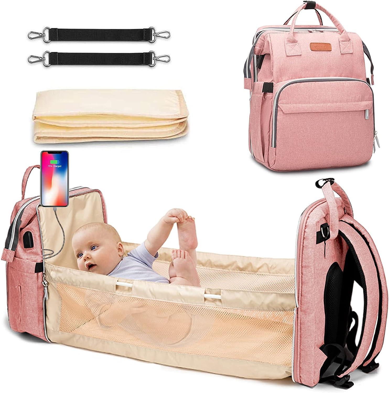 Mochila Portátil para Cama de Bebé, HebyTinco Cama Plegable Plegable de Viaje Portabl, Mochila Bebes para Pañales y Biberones Multifuncional de Gran Capacidad con Múltiples Bolsillos (Rosa)