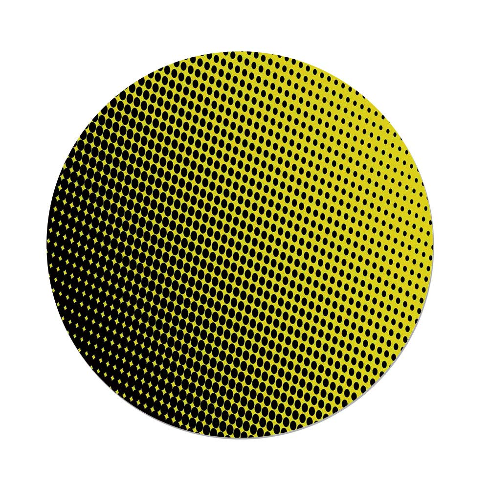 iPrint Polyester Round Tablecloth,Yellow Decor,Ombre Themed Yellow Background Black Dots from Big to Small Artwork,Yellow Black,Dining Room Kitchen Picnic Table Cloth Cover Outdoor Indoor