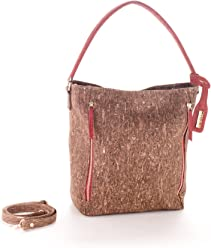 Artelusa Cork Top-Handle Tote Bag Brown/Red Remov/Adjust Strap Eco-