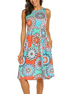 dd52b76d68dd OURS Womens Summer Sleeveless Floral Print Racerback Midi Dresses with  Pocket