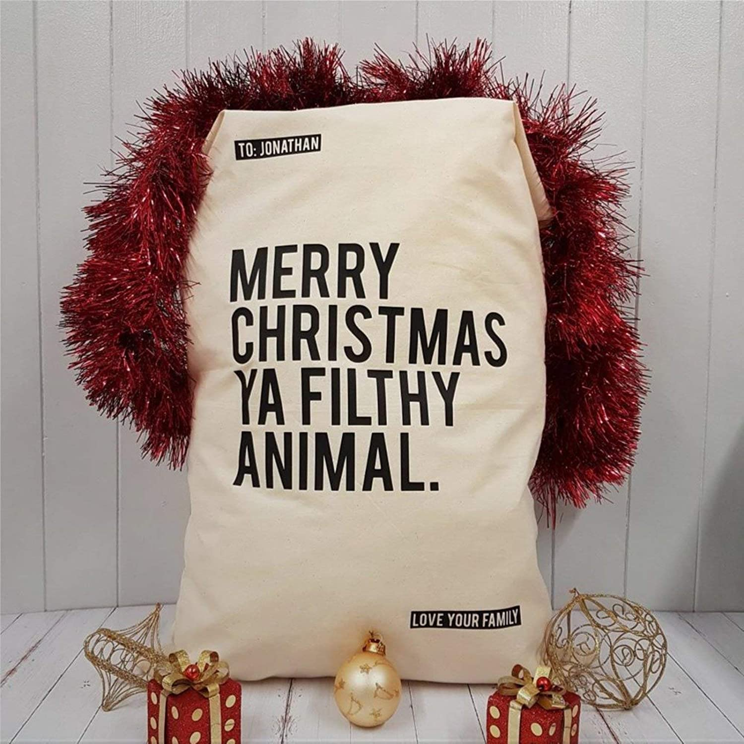 DONL9BAUER Christmas Drawstring Bag Personalised Home Alone Santa Sack Stocking Wrapping Gift Bags Xmas Goodie Bags Lager Size Sack for Birthday Christmas Party