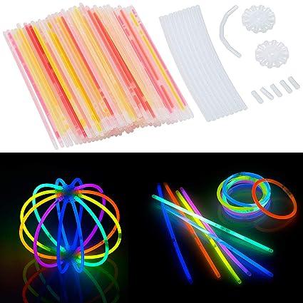 20 cm mit Steckverbindern 100 Knicklichter in 6 Neon-Leuchtfarben Lightsticks