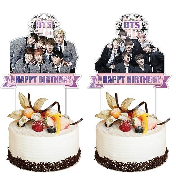 BTS - Juego de 2 adornos para tartas de cumpleaños: Amazon ...