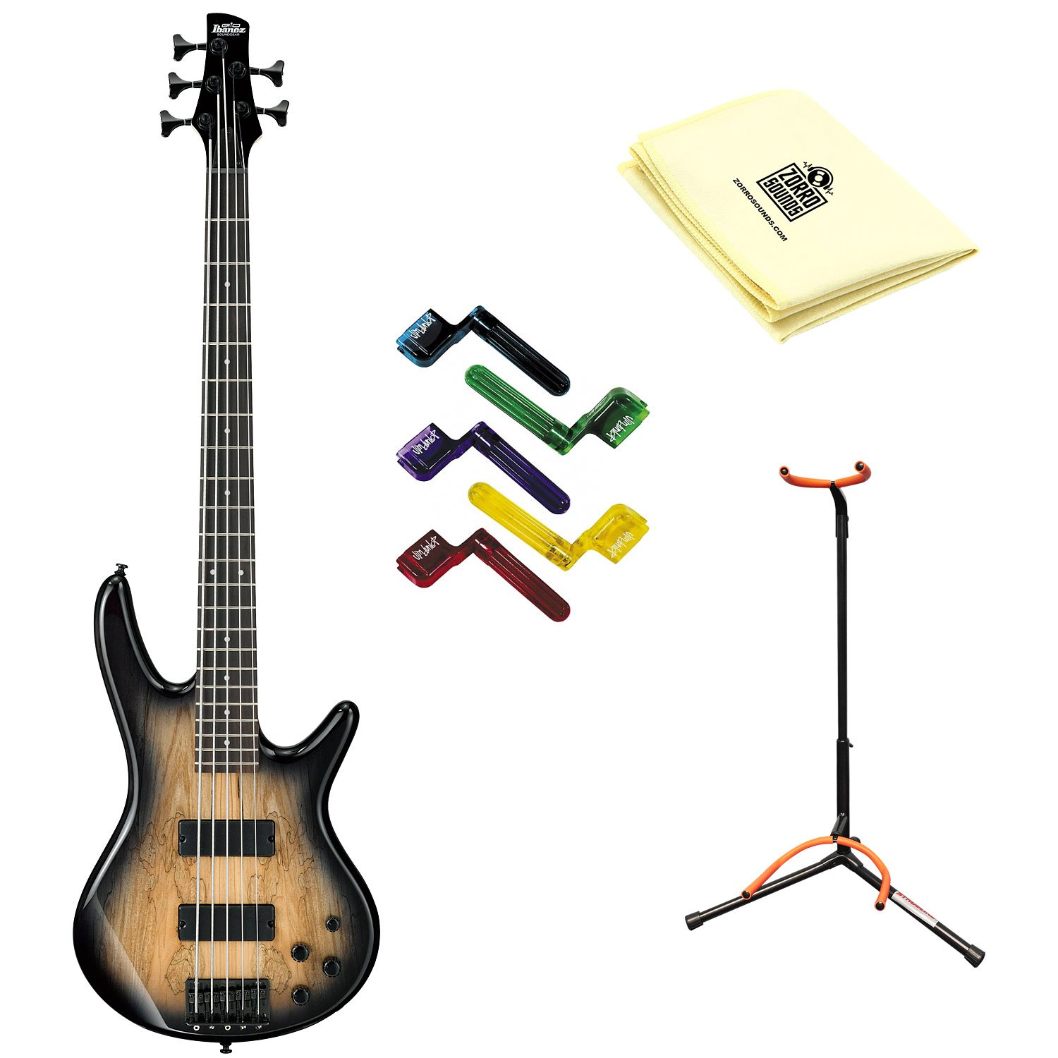Ibanez GSR205SM 5-String Electric Bass Guitar in Natural Gray Burst With Polishing Cloth, Stand, and Pegwinders