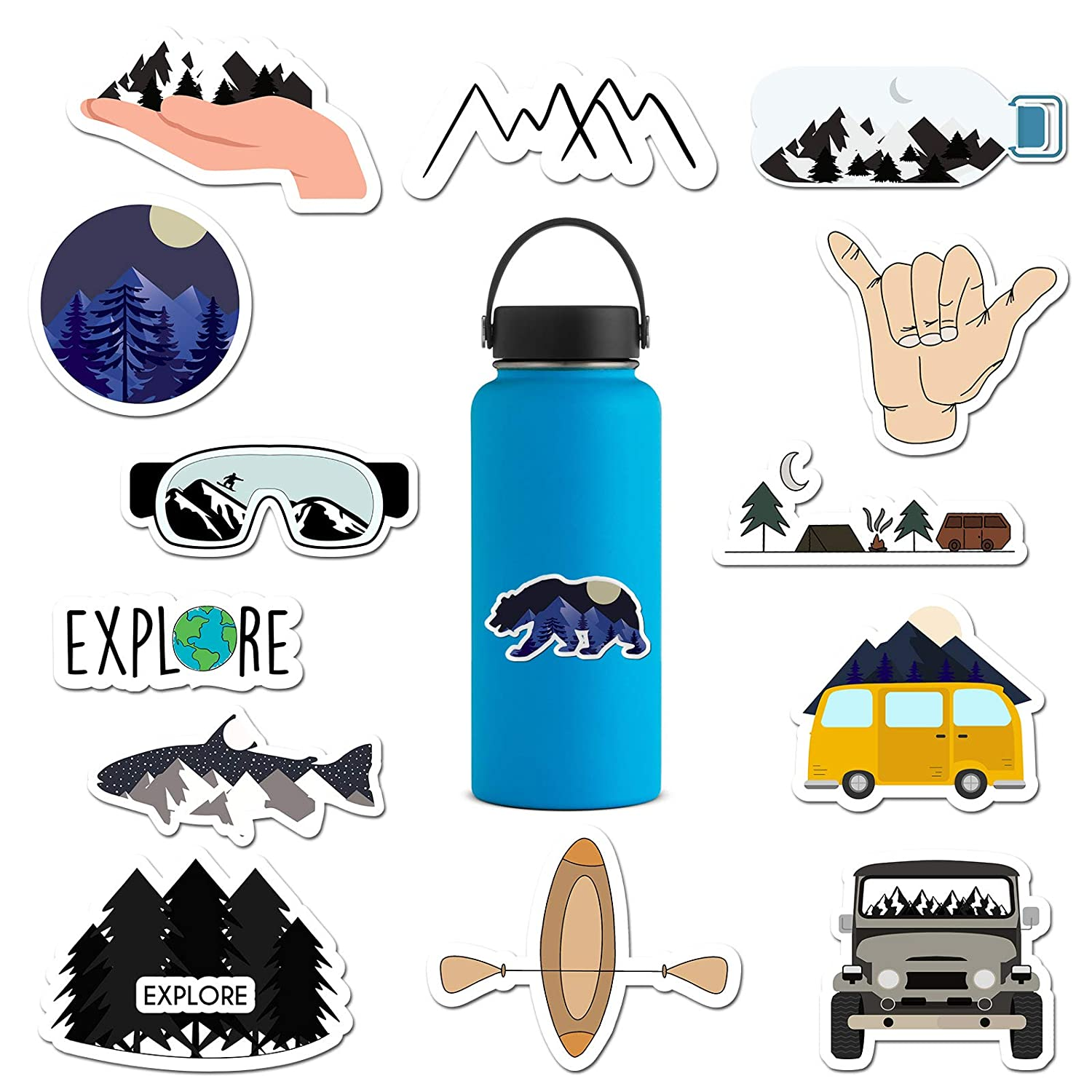 14 pack outdoors water bottle stickers waterproof vinyl stickers for water bottles mountain decal yeti patagonia stickers nature camping stickers
