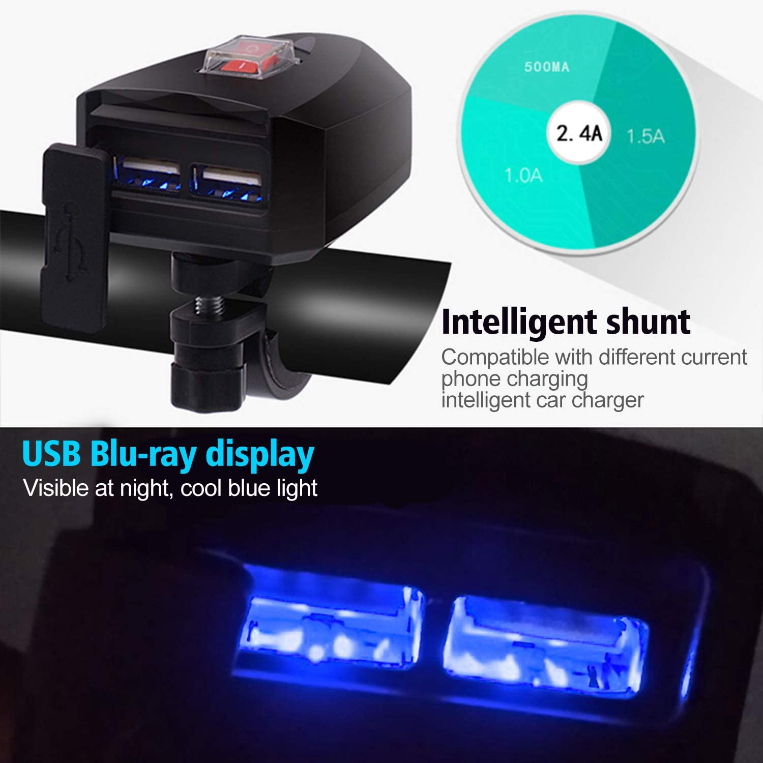 Charging Bike Snowmobile Accessories Waterproof 5V//2.4A Motorcycle Dual USB Charger deploy on-off For ATV