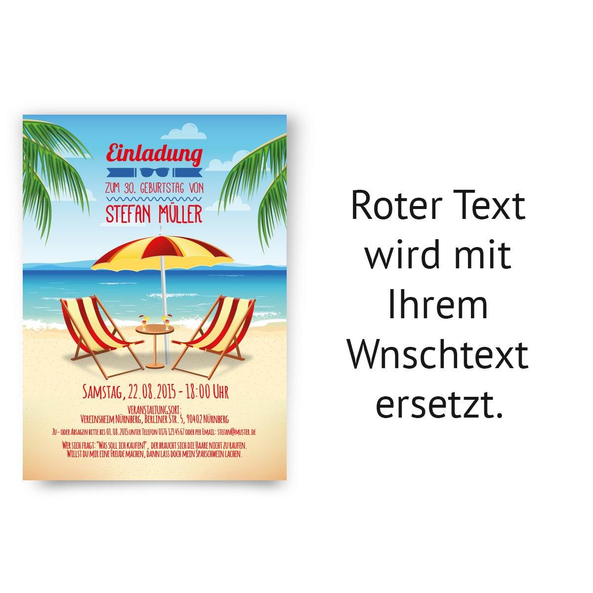 Einladungskarten Zum Geburtstag 30 Stuck Strand Meer Urlaub Palmen