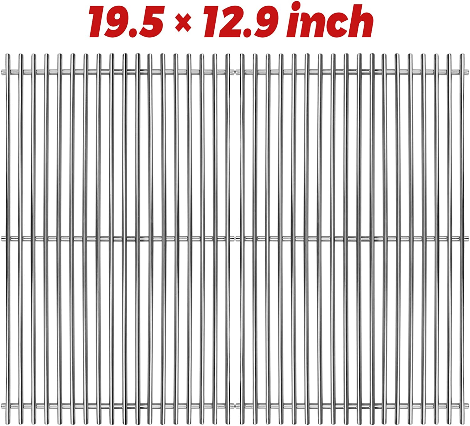 Utheer 7528 304 Stainless Steel Cooking Grid Grate (19.5 x 12.9 inch) for Weber Genesis E and S Series 300 E310 E320 S310 S320 Gas Grills, Weber Genesis Grill Replacement Parts