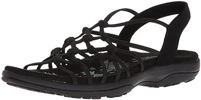 Skechers Women's Reggae Slim-Forget Knotted Web Gore Open Toe Slingback  Sandal, Black,