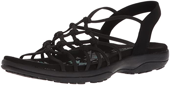Skechers Women's Reggae Slim - Forget Me Knot Sandals, Black, 10 Regular US