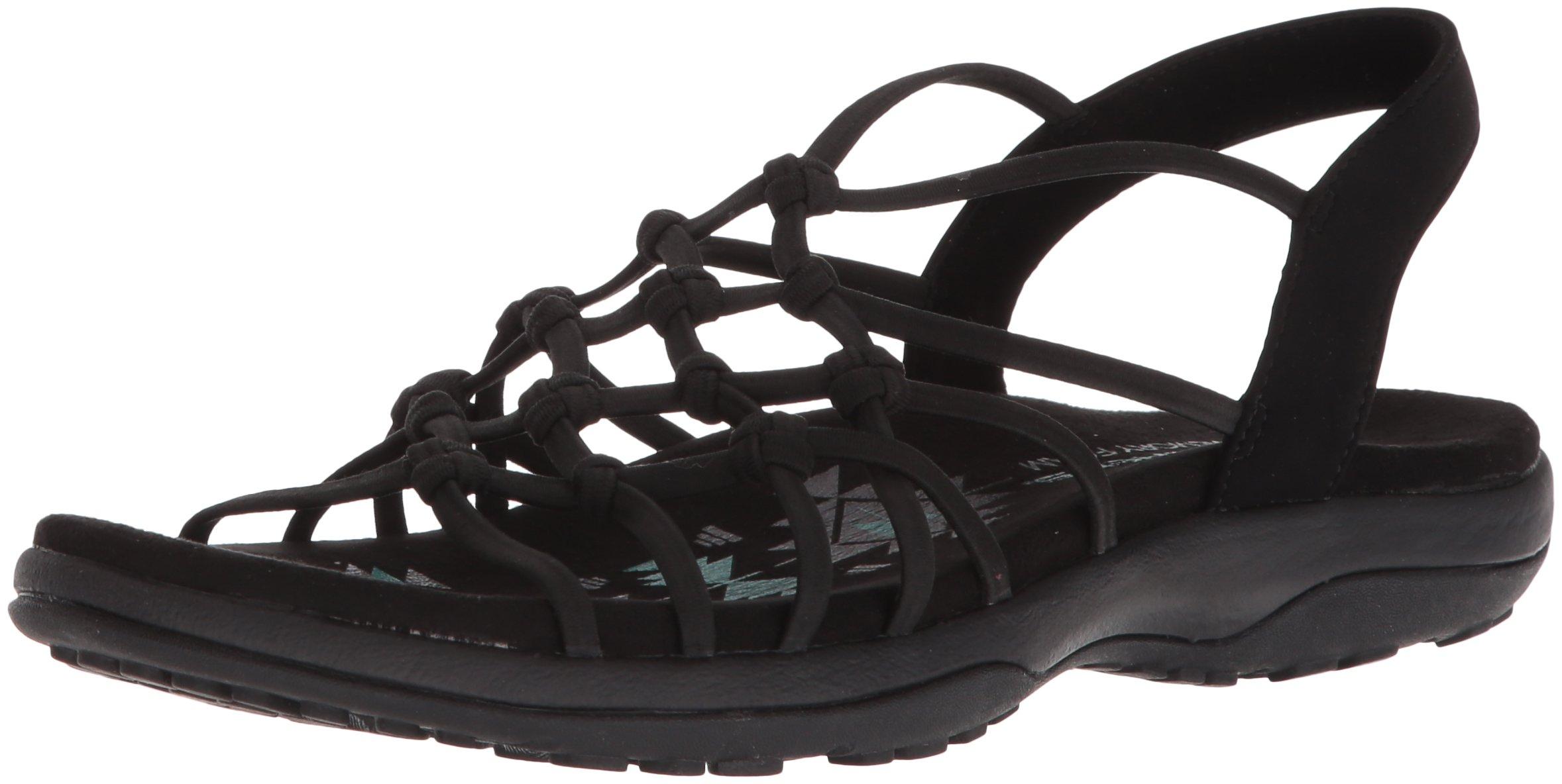 Skechers Women's Reggae Slim-Forget Knotted Web Gore Open Toe Slingback Sandal, Black, 7 W US