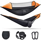 G4Free Large Camping Hammock with Mosquito Net 2 Person Pop-up Parachute Lightweight Hanging Hammocks Tree Straps Swing Hammo