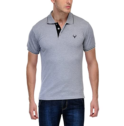 0c08aea2581f3 Daniel Estasi Men s Premium Cotton Polo T-Shirt - Grey with Black Tipping   Amazon.in  Clothing   Accessories