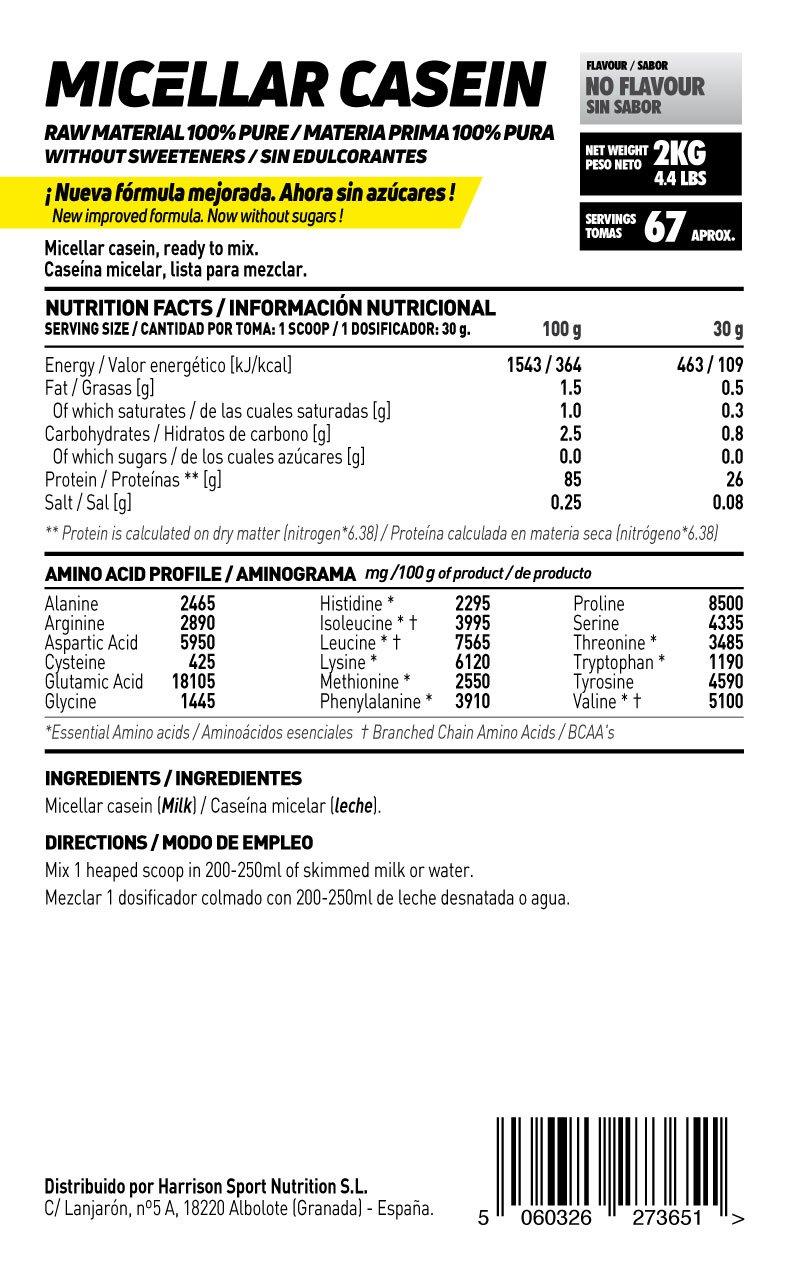 HSN RAW - Caseína Micelar - Proteína de Lenta Digestión - Sin Edulcorantes Sin Endulzantes - En Polvo - Sin Sabor - 2000g: Amazon.es: Salud y cuidado ...