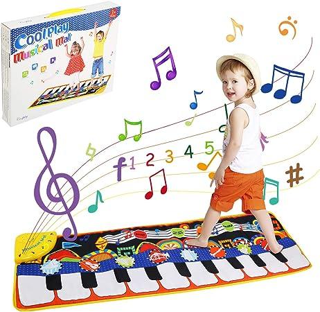 LinStyle Alfombra de Piano, Juguetes Niños 3 Años, Alfombra de Teclado Táctil Musical Touch Juego, 5 Modes & 8 Sounds Touch Juegos Educativos, 110 x ...