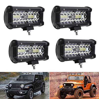 CIIHON LED Light Bar 7inch 120W 24000LM Triple Row Fog Lights Pods Spot Flood Combo 3030-SMD Rainproof Work Lights Backup for Off-road Truck Jeep ATV UTV Car Driving SUV Boat (pack of 4): Automotive