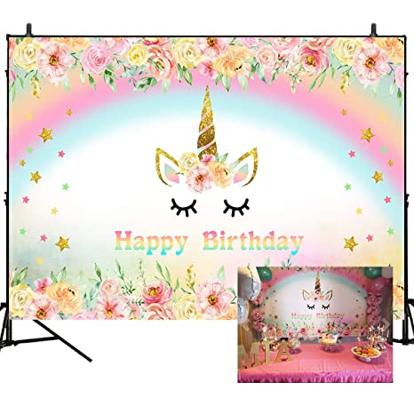 Amazon Com Mehofoto Unicorn Photography Backdrop Flower Rainbow