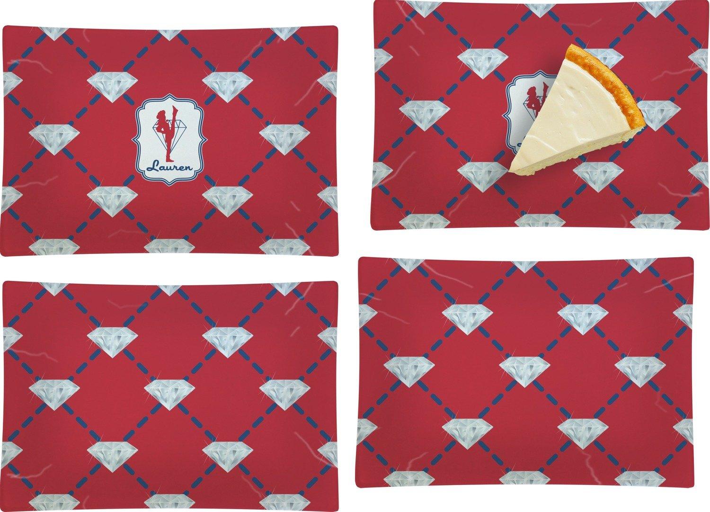Red Diamond Dancers Set of 4 Rectangular Appetizer / Dessert Plates (Personalized)