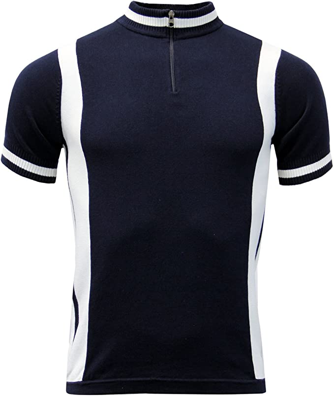 Mens Vintage Shirts – Casual, Dress, T-shirts, Polos Madcap England Vitesse Mens Retro 60s Knitted Cycling Top with Zip Funnel Neck £34.99 AT vintagedancer.com