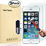 """[3 Pack] iPhone 5 5s SE Screen Protector, MaxTeck 0.26mm 9H Tempered Glass Shatterproof Screen Protector Anti-Shatter Film for iPhone 5 5S 5C SE 4"""" inch"""