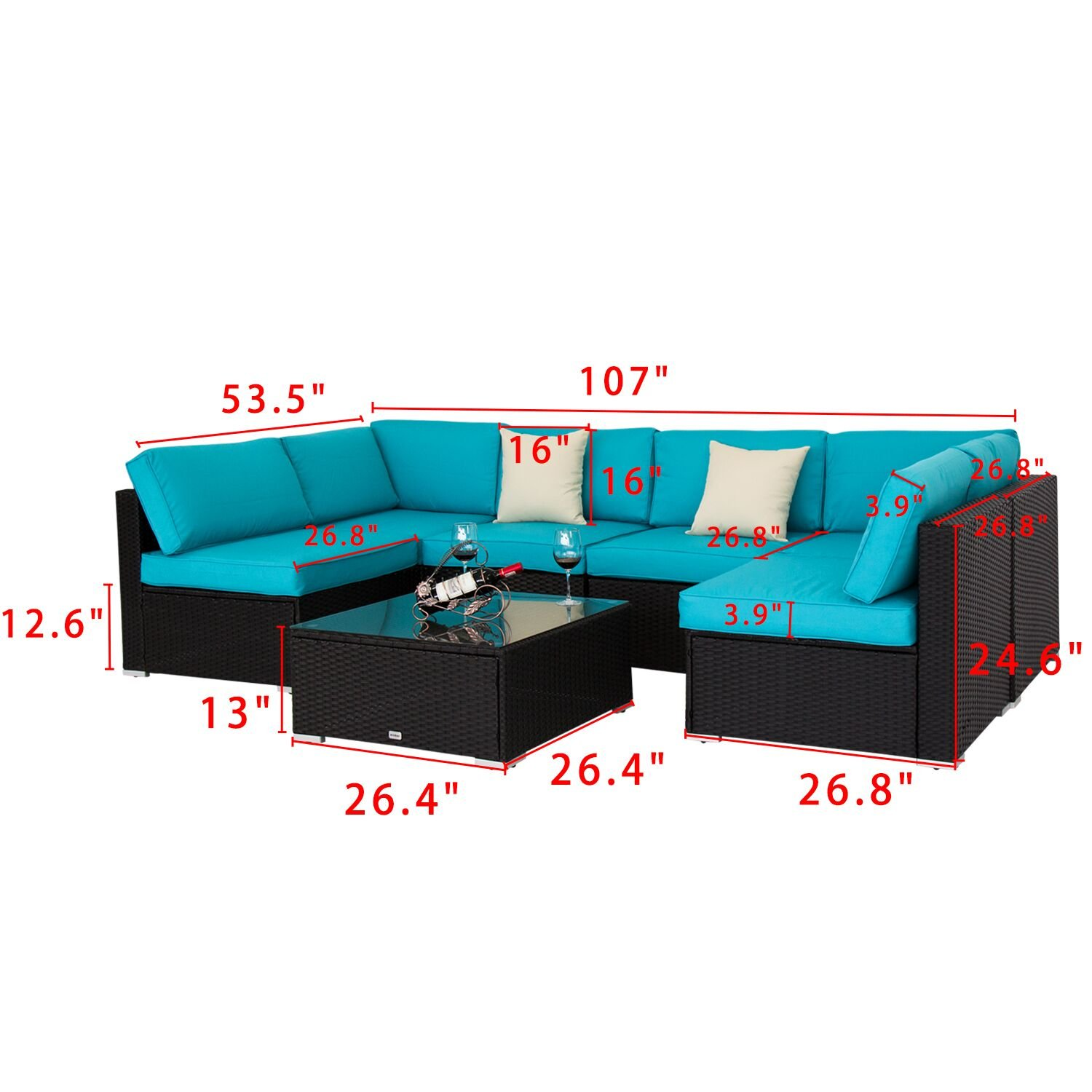 Peach Tree 7 PCs Outdoor Patio PE Rattan Wicker Sofa Sectional Furniture Set With 2 Pillows and Tea Table by Peachtree Press Inc (Image #3)