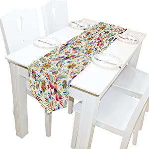 ALAZA Table Runner Home Decor, Mexican Colorful Birds and Flowers Table Cloth Runner Coffee Mat for Wedding Party Banquet Decoration 13 x 90 inches